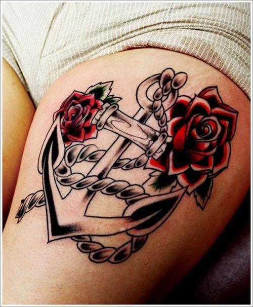 Ancla Rosas Y Soga Tatuajes Muslo Femenino Tatuajes Tatuajes Al Azar