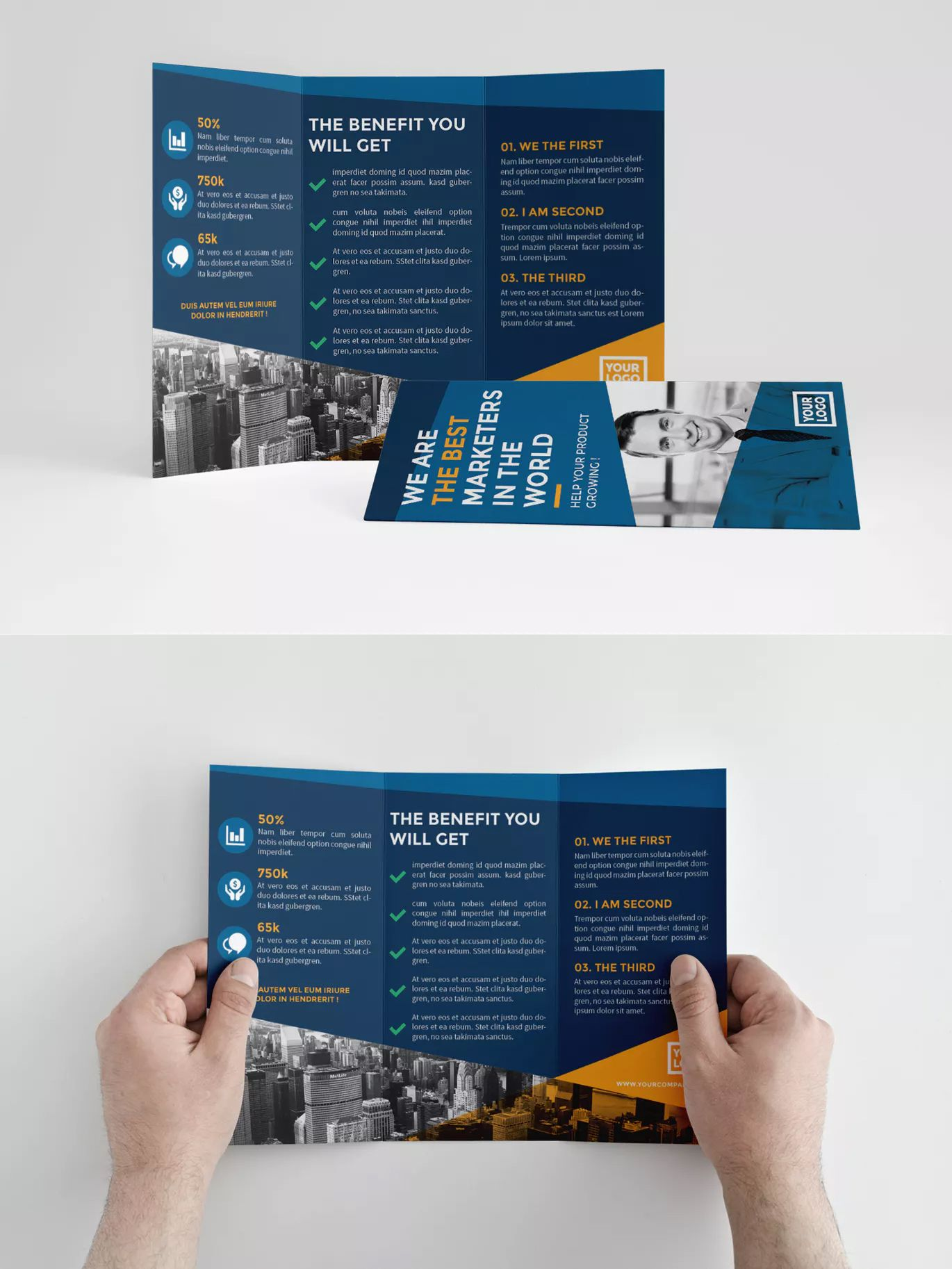 simple blue trifold brochure template indesign indd