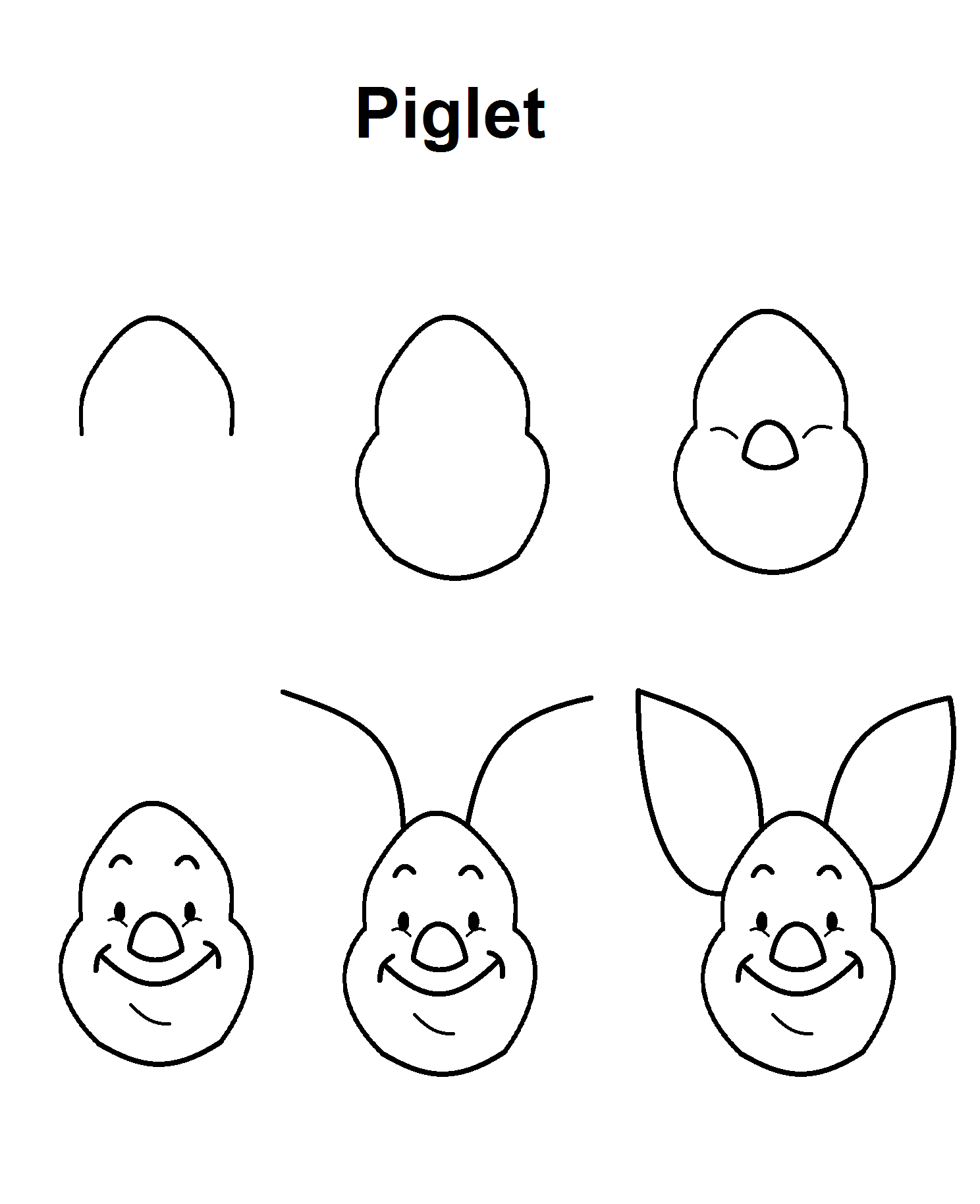 Piglet Step By Step Drawing Tutorial Easy Disney Drawings Easy
