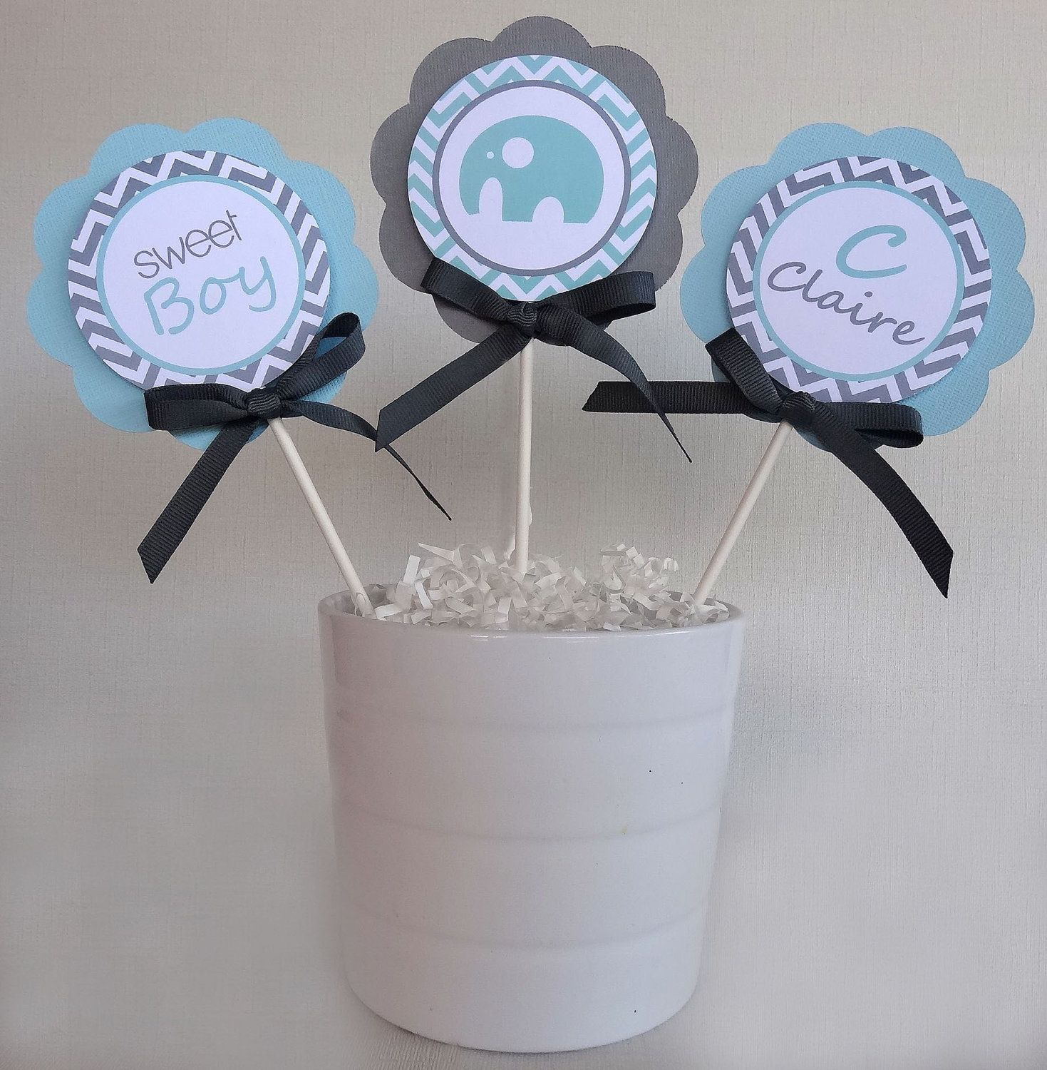 Elephant Centerpiece Sticks Baby Shower Decorations Gray and