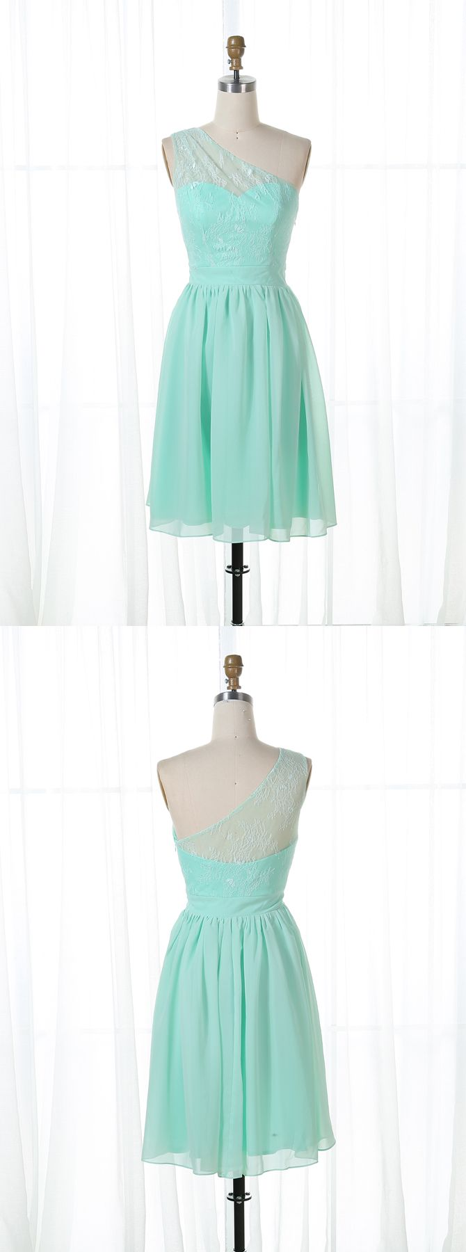 One shoulder mint green homecoming dressessimple tulle short prom
