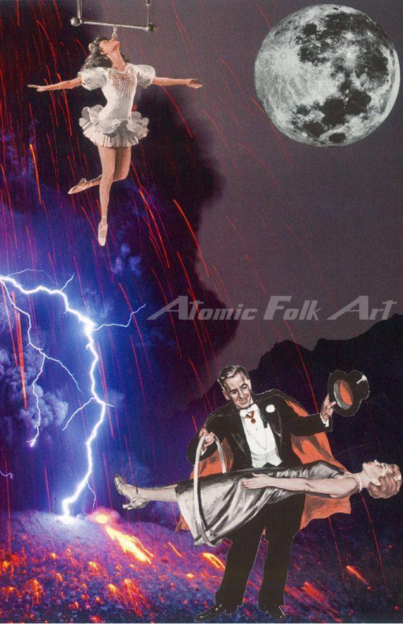 Deadly magic surreal art sci fi collage fantasy unique decor magician acrobat illusion volcano lightning retro vintage circus sideshow
