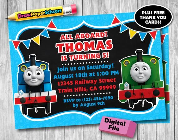 This Thomas The Train Birthday Invitation Digital Download Is Just One Of Custom Handmade Pieces Youll Find In Our Invitations Shops
