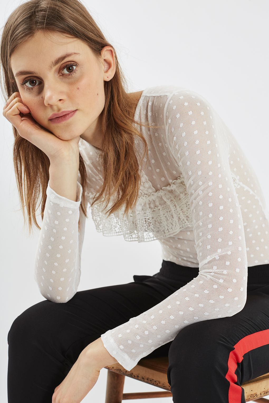 Lace bodysuit styles  Lace Spot Mesh Long Sleeve Body  Tops  Clothing  Body top Bodies