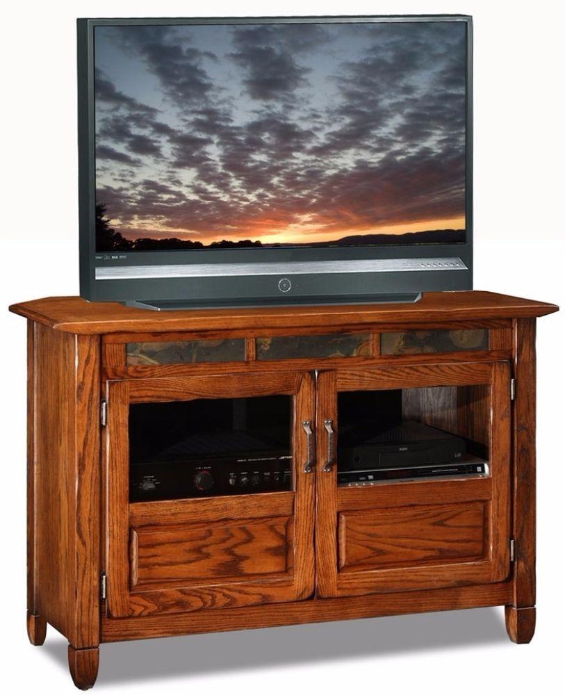 Attirant Rustic Oak Slate 46 Inch Glass Veneer Wood TV Stand Media Console Home  Furniture