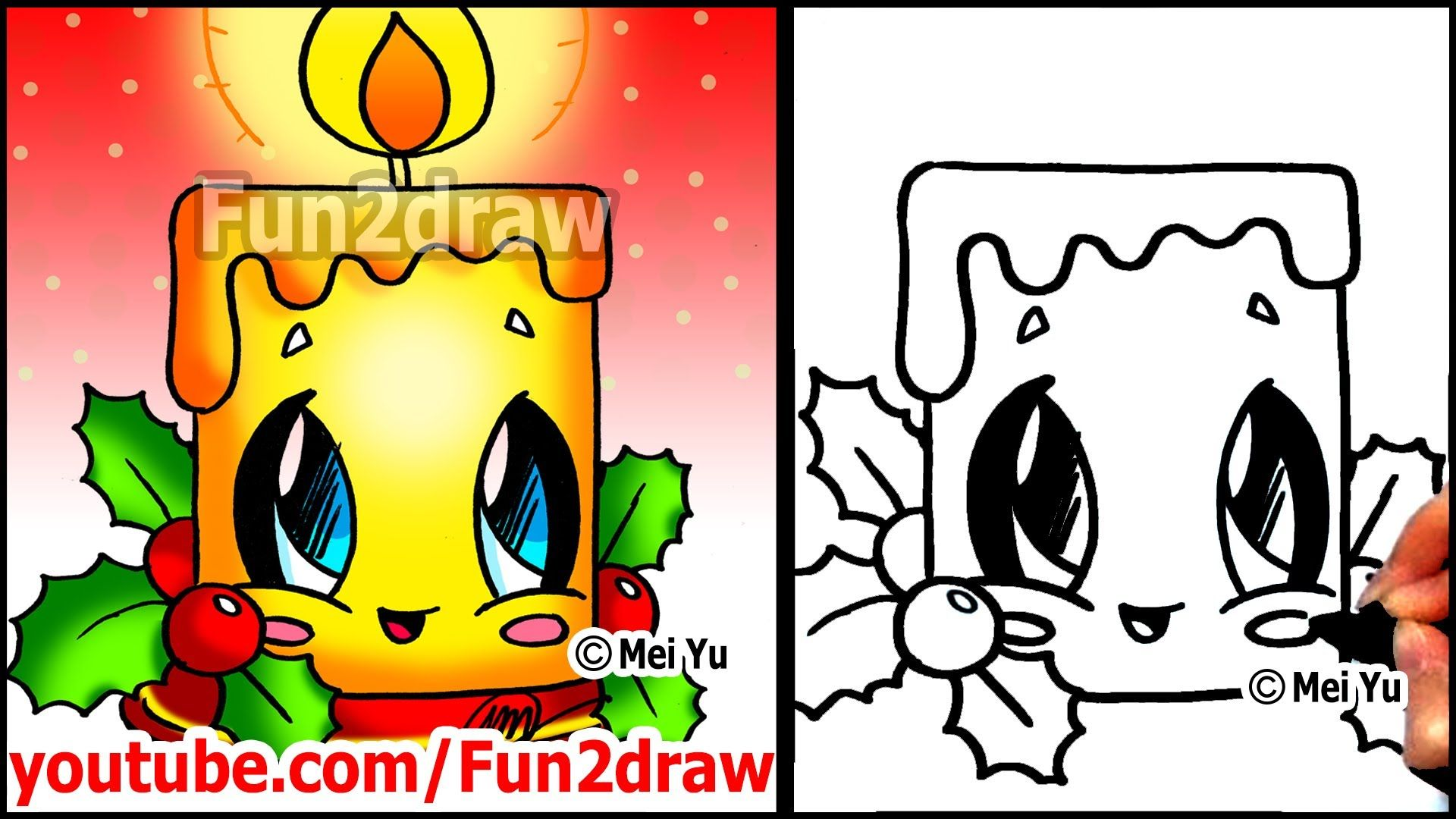 How To Draw Christmas Pictures Candle Holly Decoration Fun2draw Easy Cartoons Easy Disney Drawings Fun2draw Funny Easy Drawings