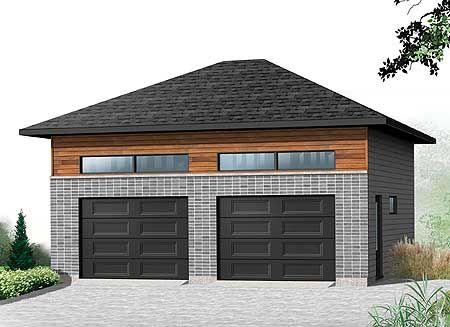 Plan 22372dr Detached 2 Car Garagewith Hip Roof Garage Door Design Single Garage Door Hip Roof