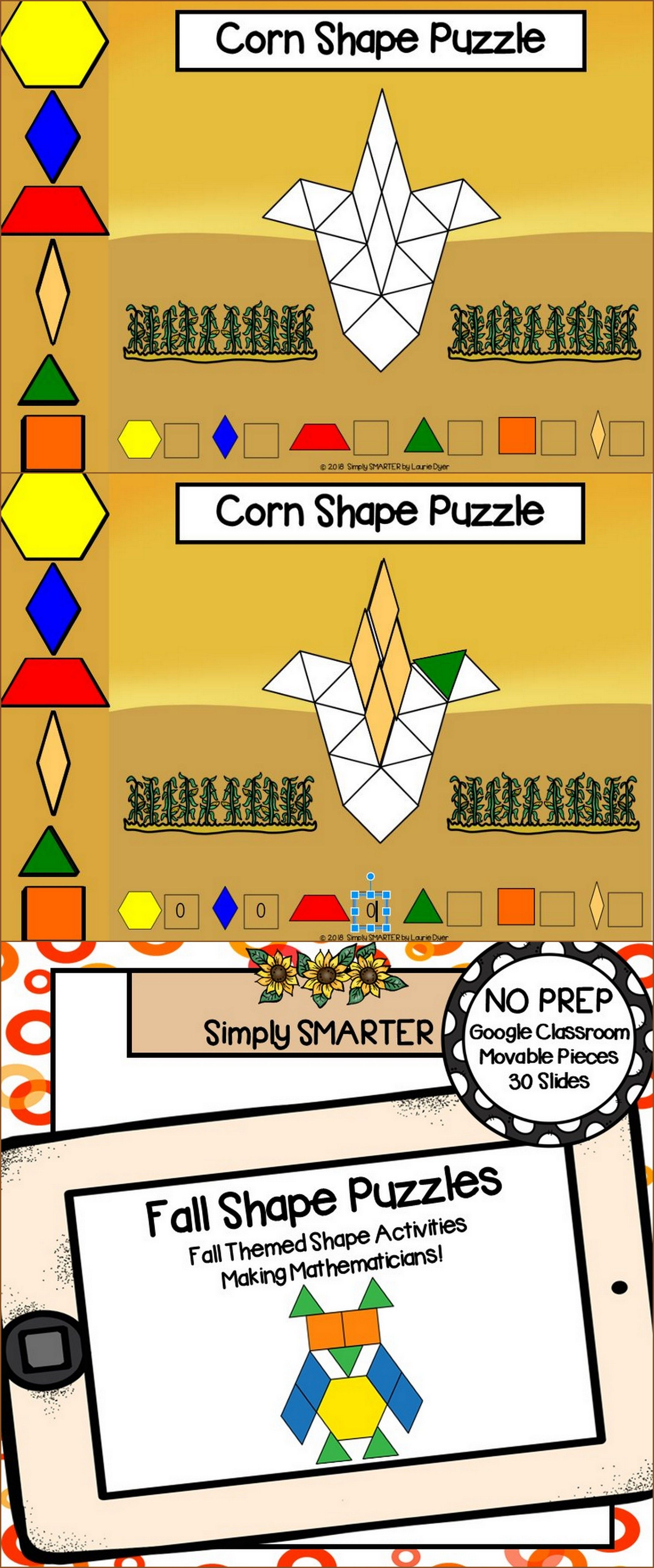 Fall Themed Pattern Block Shape Puzzle Activities For