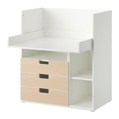 STUVA Schreibtisch mit 3 Schubladen, weiß, Birke Birken - küchenwagen mit schubladen