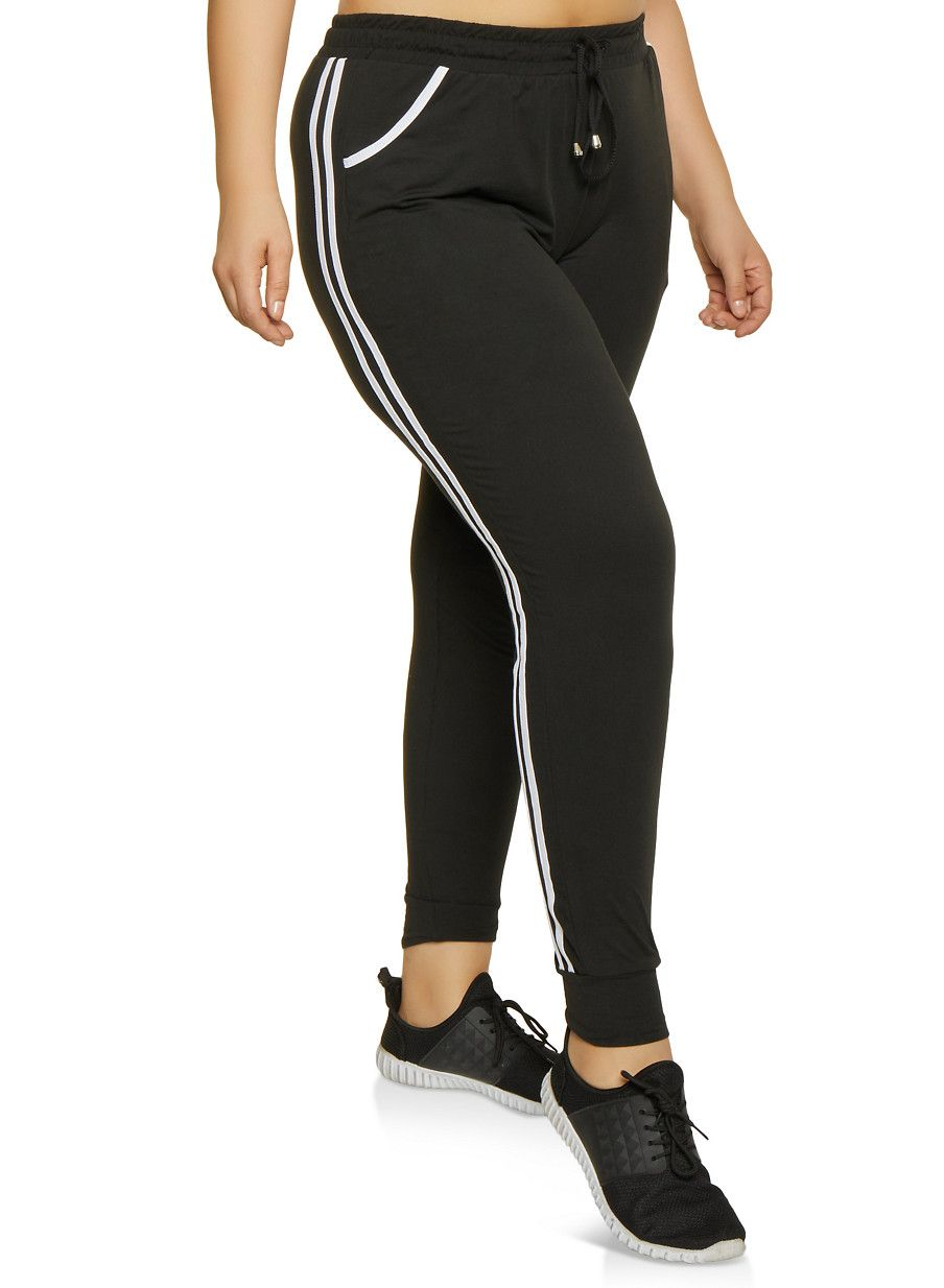 64e4a9ccbd6 Plus Size Varsity Stripe Soft Knit Joggers - Black - Size 2X in 2019 ...