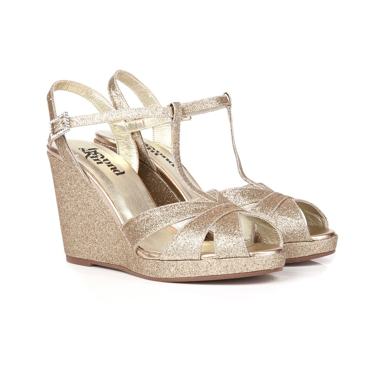 Gold glitter angelica wedges wedge wedding shoes wedges