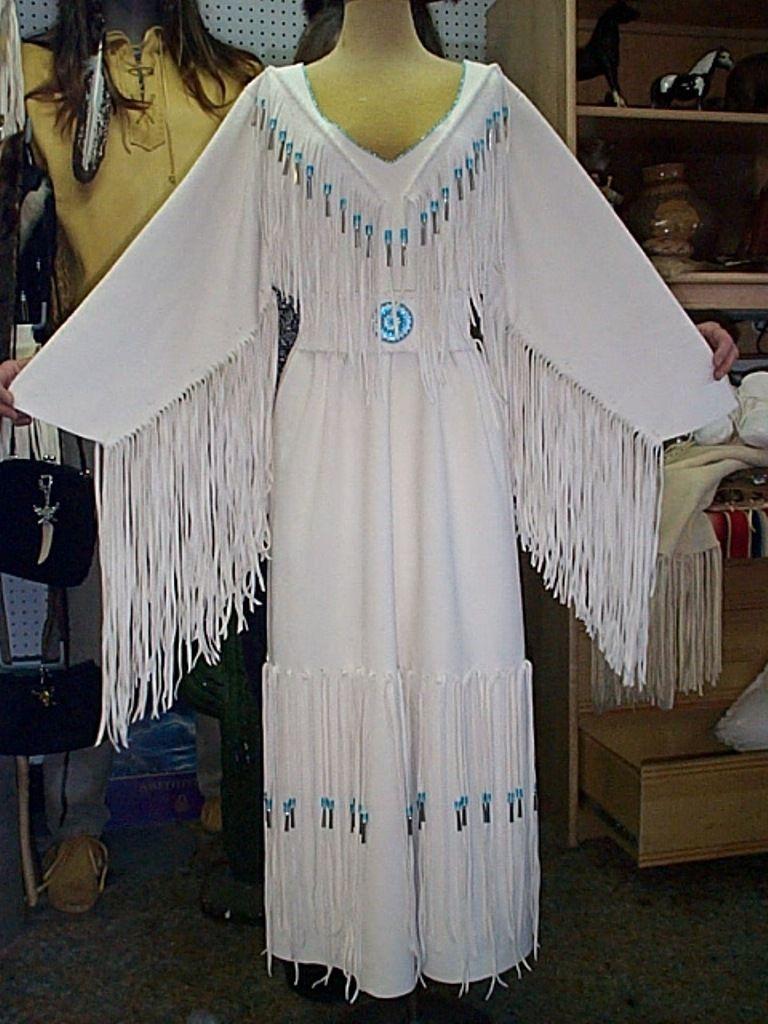 native american wedding dress White deer elk hide wedding dress with seed bead detail around the neck glass Native American