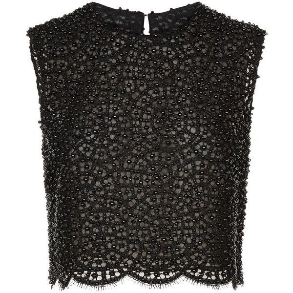 Costarellos Pearl Bead Lace Top (€920) ❤ liked on Polyvore featuring tops, crop tops, shirts, see through tops, lace top, cut-out crop tops, sheer crop top and lace shirt