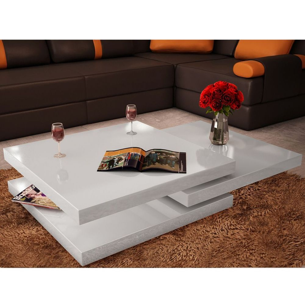 High Gloss White Square 3 Layer Storage Rotatable Modern Coffee Table Furniture In Home Furniture Coffee Table Coffee Table White White Dining Room Furniture