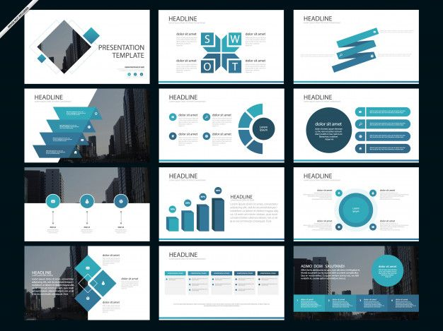 Blue abstract presentation templates inf  Premium Vector