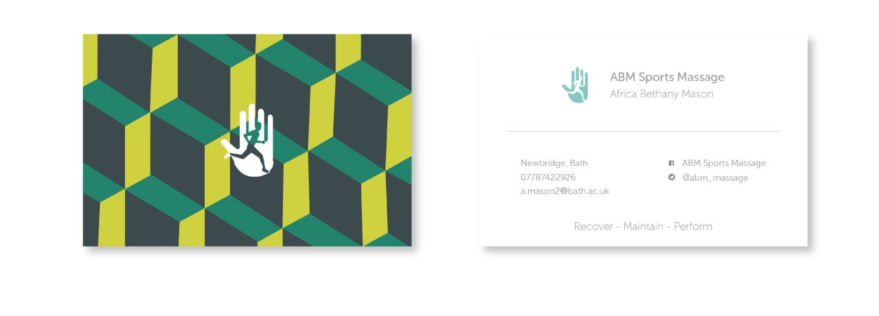 Business card design for ABM Sports Massage by Lissy Mae | A R T ...