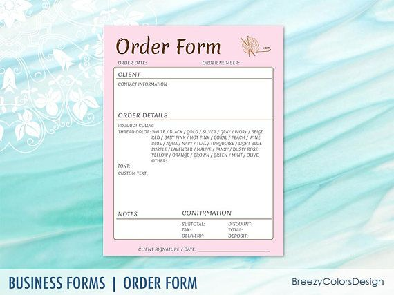 Order Form Templates Printable, Custom Embroidery Business - printable order form