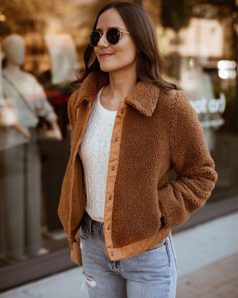 Teddy Coat Fleece Jacket Women S Fall Outfits Fallfashion Fallstyle Fall Falloutfits Women S Fall Layers Fall Outerwear Warm Fall Jacket Outerwear Women [ 1012 x 810 Pixel ]