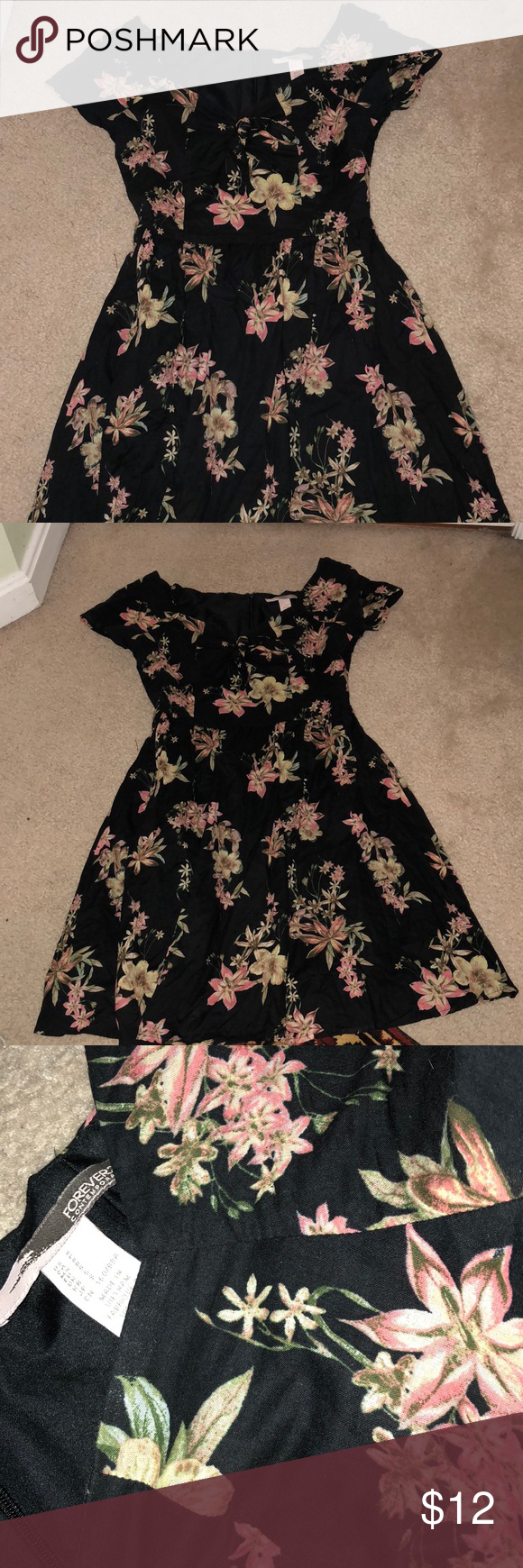 Floral Black Forever21 Cute Dress Black Forever21 Dress With Pink Flowers Bow Tie With Sweetheart Neck Line Size S Foreve Fashion Cute Dresses Clothes Design [ 1740 x 580 Pixel ]