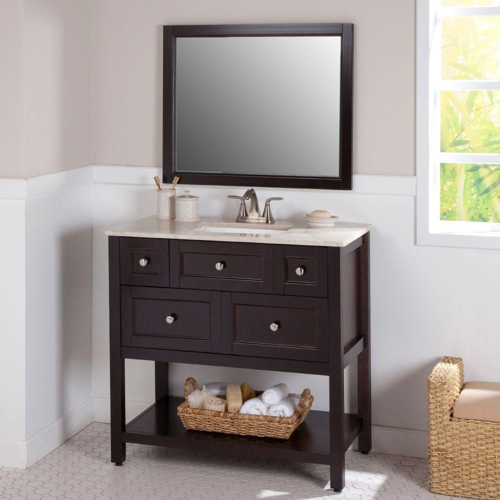 Glacier Bay Ashland 36 In W X 19 In D Bathroom Vanity In Chocolate With Stone Effects Vanity Top In Baja Travertine And Mirror Al36p3com Ch The Home Depot Home Depot Bathroom