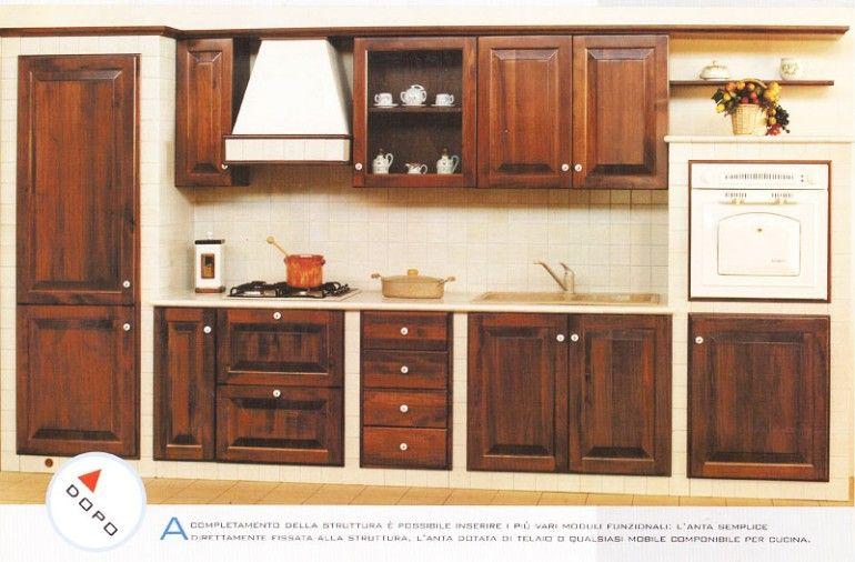 Cucina in muratura in kit montata e funzionale animalegno pinterest - Cucine finte muratura ...