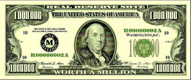 Real Million Dollar Bills Well Almost Money Template Dollar Bill Free Clip Art