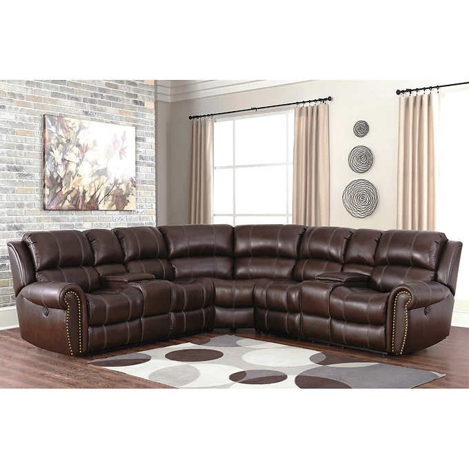 Channing Top Grain Leather Power Reclining Sectional Living Room