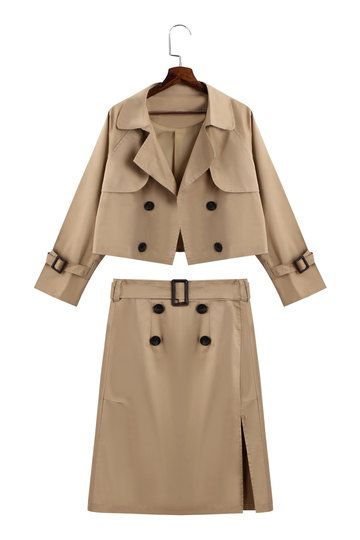 828aa7dd82 Khaki Long Sleeves Trench Coat & Pencil Midi Skirt Suit - US$45.95 ...