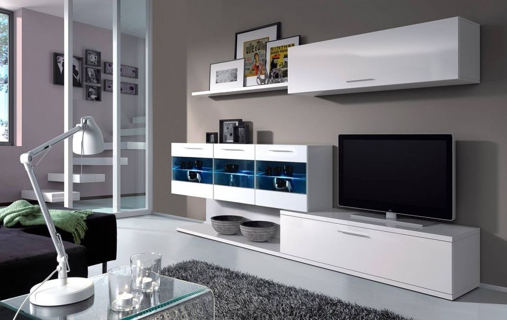 Alessia Tv Unit Living Room Furniture Set Media Full Wall Melamine White Gloss Living Room Wall Units Living Room Sets Furniture Wall Unit