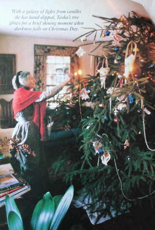 Hand made candles on Christmas Tree Tasha Tudor