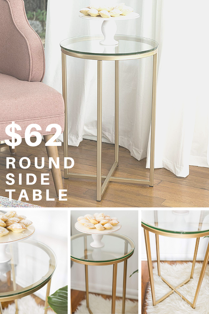 We Furniture Round Side Table Glass Gold Living Room Accent Tables Decorating Small Spaces Living Room Glass Side Tables #round #side #tables #for #living #room