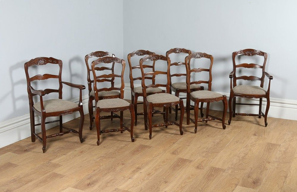 Set Of 8 Eight French Louis Provincial Oak Ladder Back Upholstered Kitchen  Dining Chairs. 6