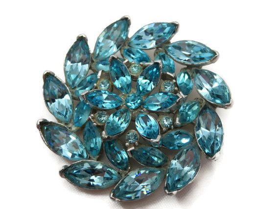 Blue Rhinestone Brooch - Vintage Costume Jewelry, Aqua