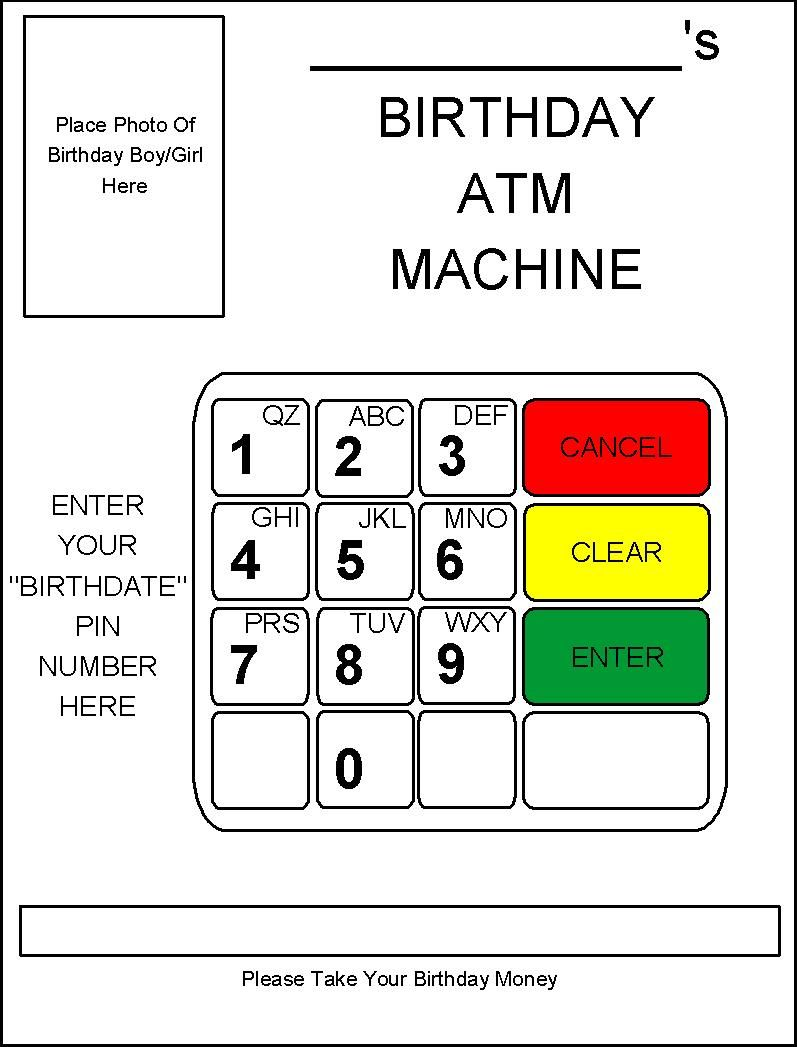 Robbygurls creations diy birthday card atm machine gift ideas card ideas negle Image collections