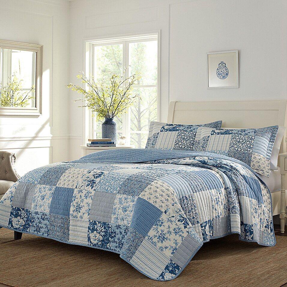Laura Ashley Paisley Patchwork 3 Piece Reversible Quilt Set Bed Bath Beyond Quilt Sets Blue King Quilt Sets Cotton Quilt Set