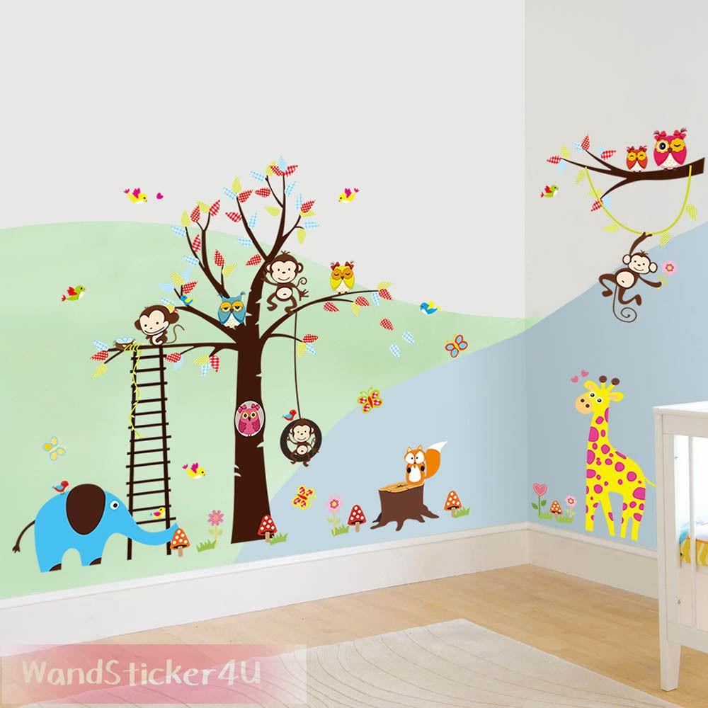 Verschiedene Eulen Kinderzimmer Referenz Von Wandtattoo Waldtiere Baum Affe Eule Giraffe Elefant