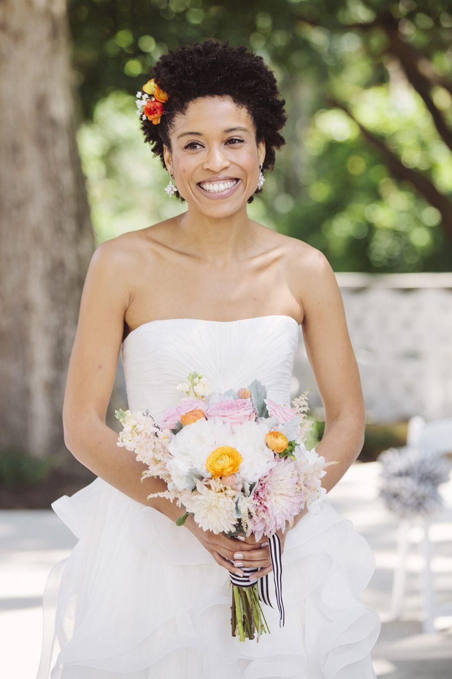 Bright modern summer wedding wedding natural hair brides and