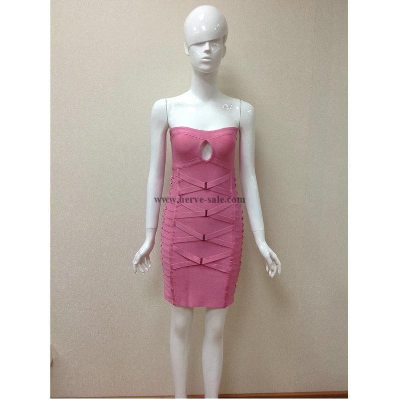 Herve Leger Pink Keyhole Bandage Dress H341LP
