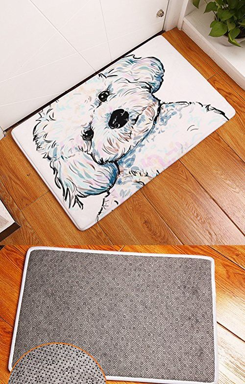 Yj Bear Thin Cute White Dog Pattern Floor Mat C Fleece Home Decor Carpet Indoor Rectangle Doormat Kitchen Runner 16 X 24