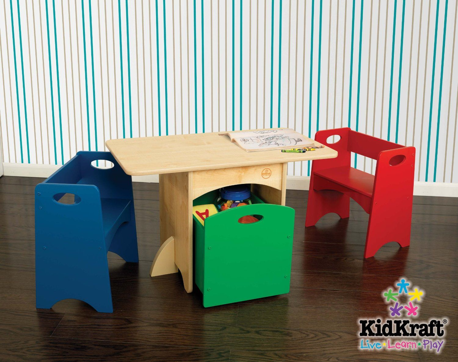 Kids Table and Chair Set - Natural Table with Primary Benches - KidKraft Furniture - 26161 - & $118.00 Kid Kraft table toy storage with benches. Great way to ...