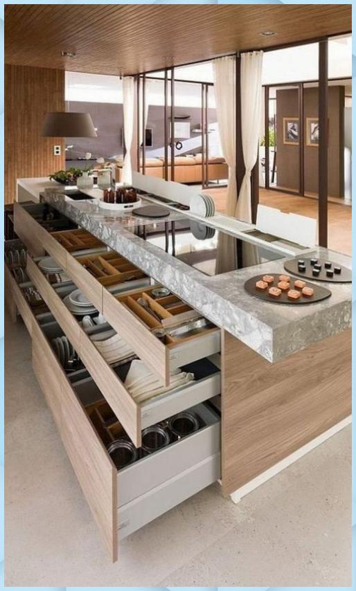 Praktische Kuchenideen Die Ihnen Auf Jeden Fall Gefallen Werden 14 Cuisine Ouverte Ilot In 2020 Moderne Kuchendesigns Kuchendesign Modern Innenarchitektur Kuche