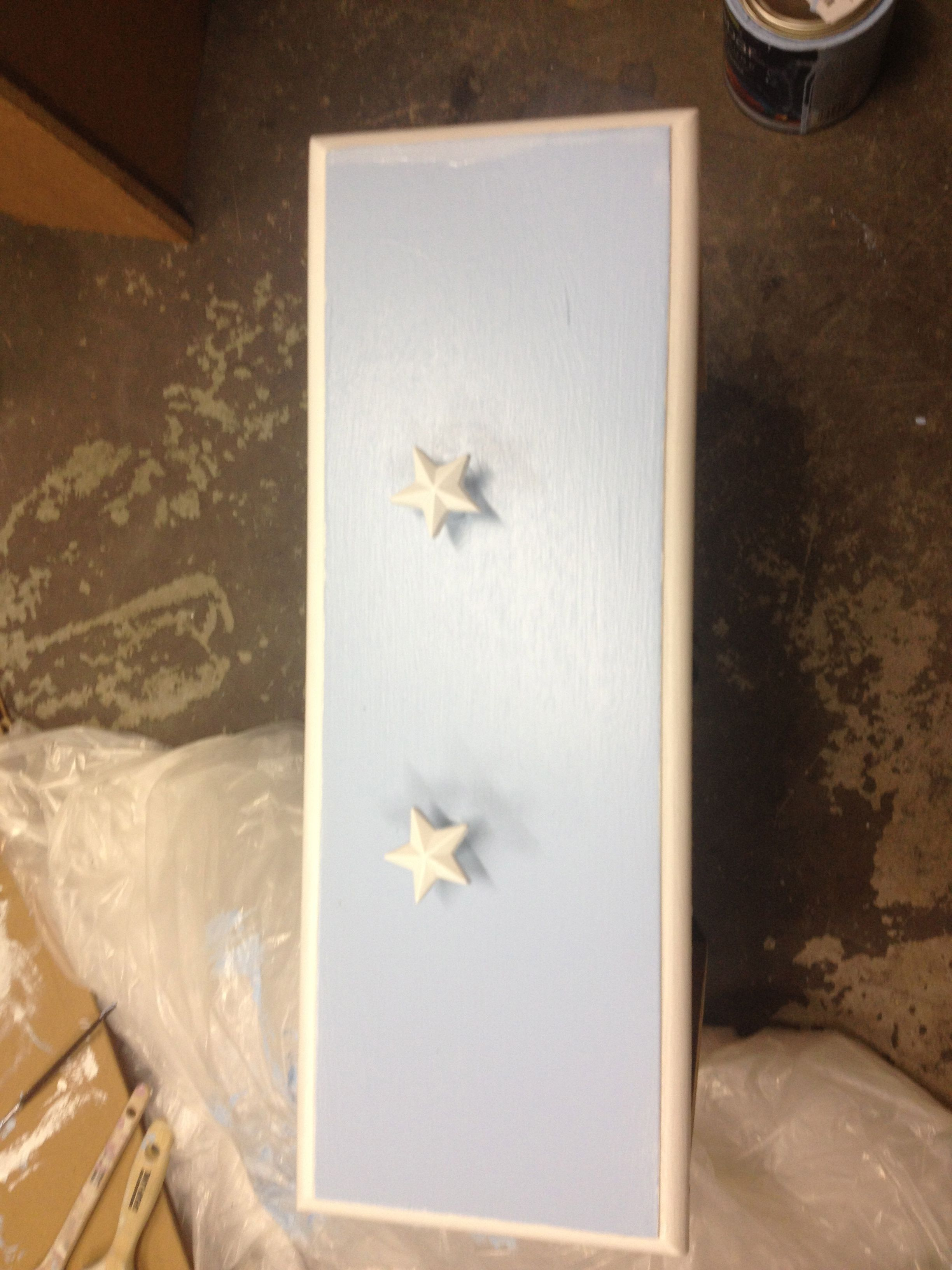 ADDING STAR DRAWER PULLS TO DRESSER FOR CHANGING TABLE
