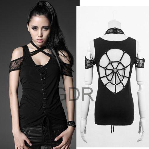 Black Punk Visual Kei Gothic T306 Back Cobwebs Shirt s XL | eBay
