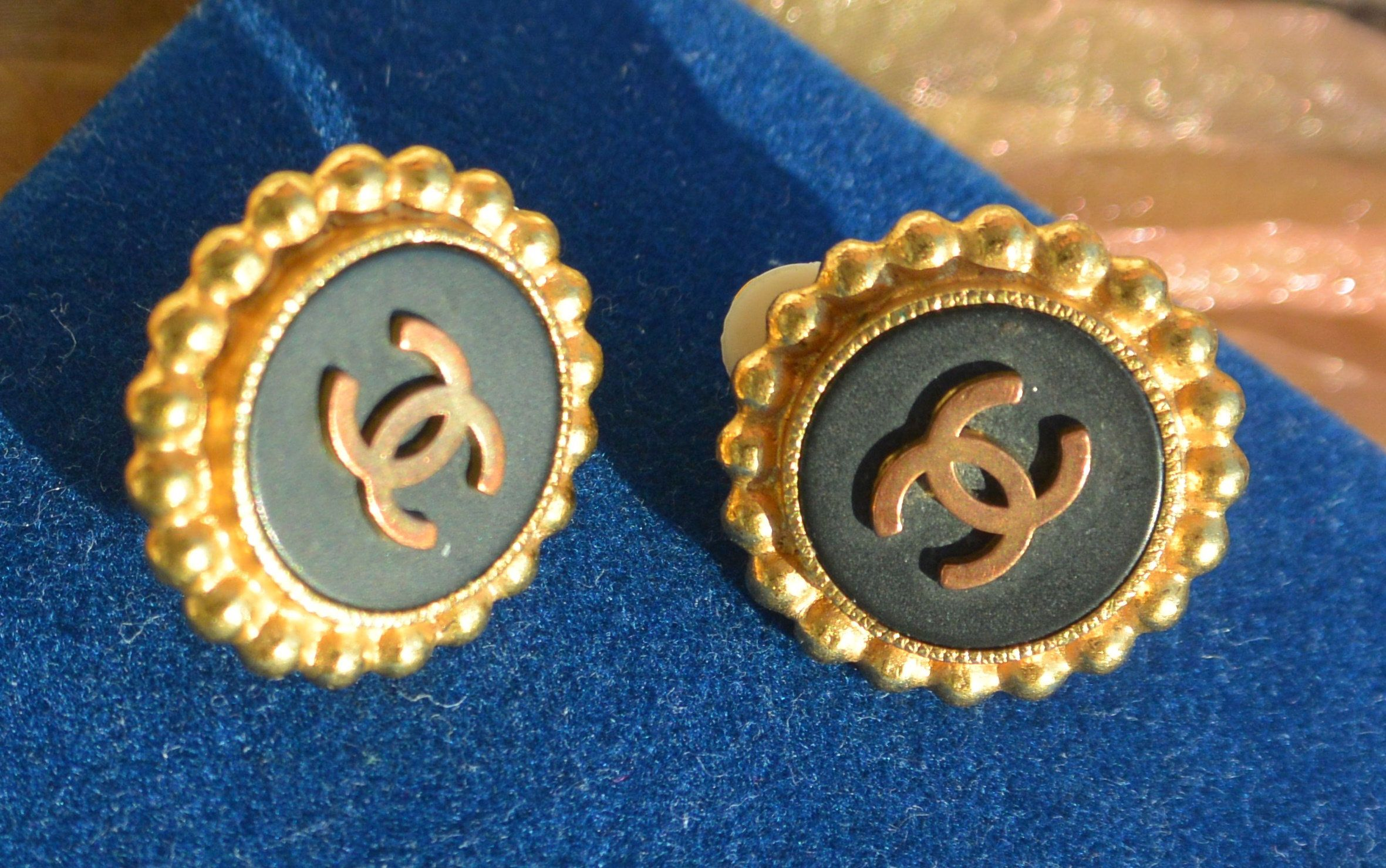 Chanel Logo Earrings Clip, Rare Color/Design, Signed