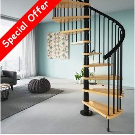 Best Gamia Wood Spiral Staircase 1400Mm Black 400 x 300