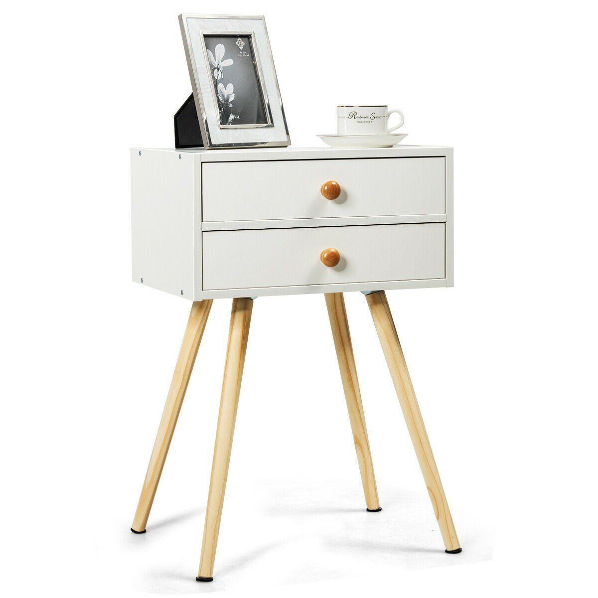 Mid Century Modern 2 Drawers Nightstand in Natural#century #drawers #mid #modern #natural #nightstand
