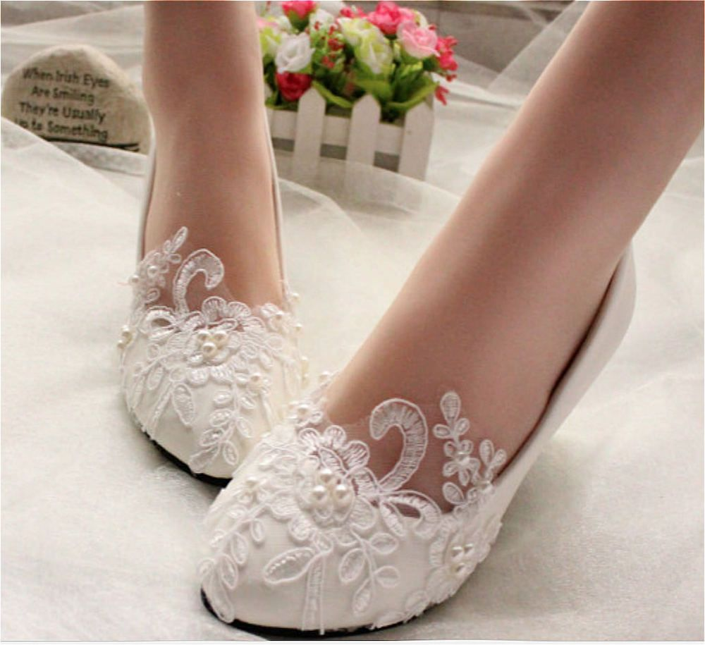 Wedding shoes for lace dress  Lace white light ivory pearls Wedding shoes flats low high heel pump