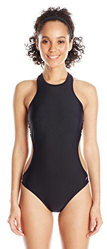 77263ef6c3 Speedo Women's Active High Neck Cutout One Piece Swimsuit | One ...
