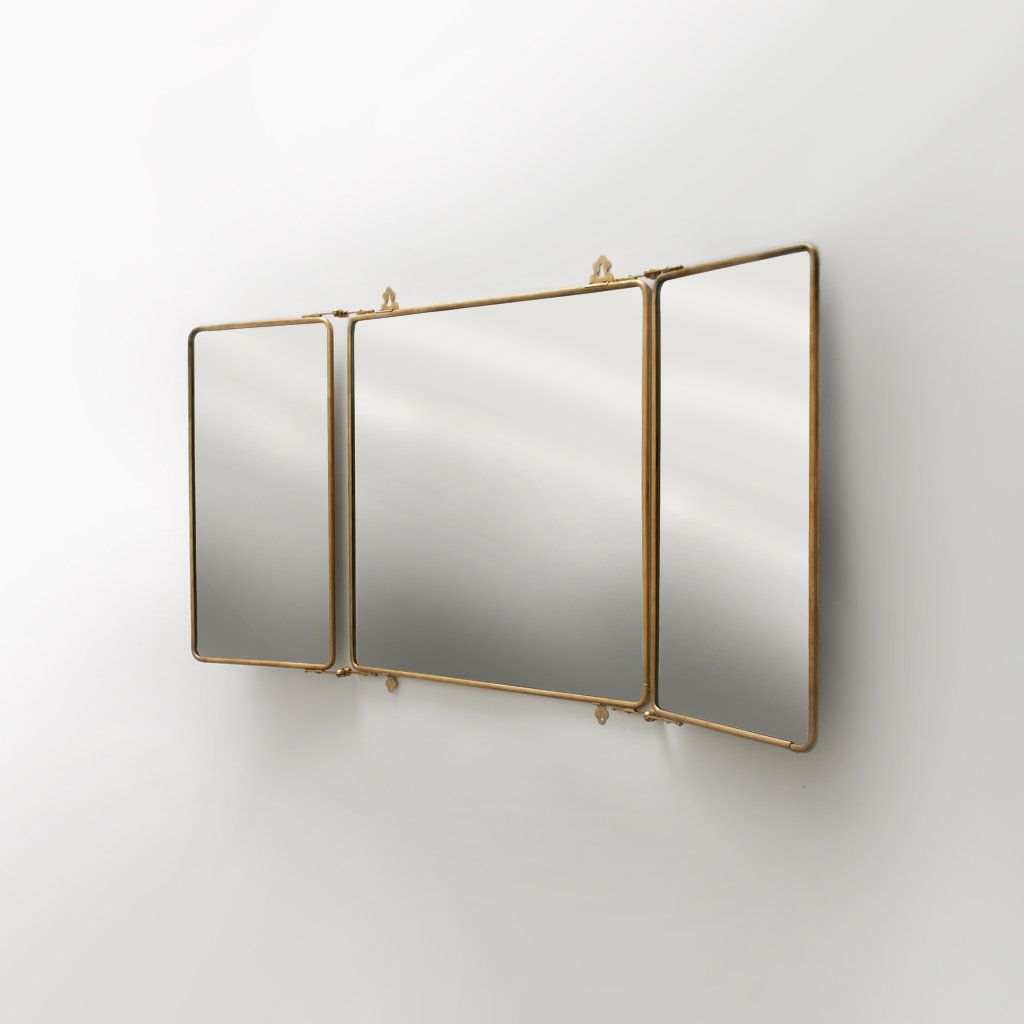Metal Rectangular Wall Mounted Trifold Mirror 42 3 8 X 26 4 1 Products Waterworks