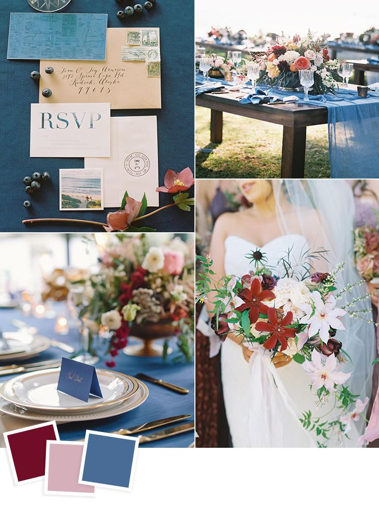 12 Fall Wedding Color Combos To Steal Pinterest Blue Wedding